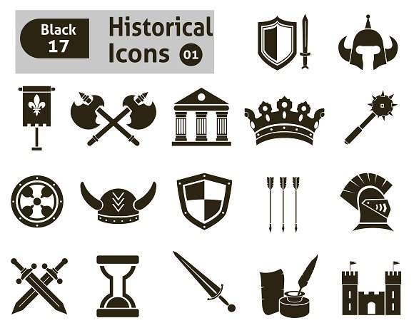 Histoical icons in Icons - product preview 1
