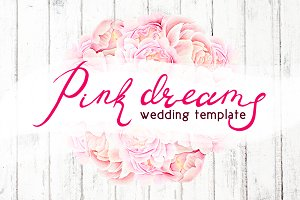 Watercolor wedding set - PINK DREAMS