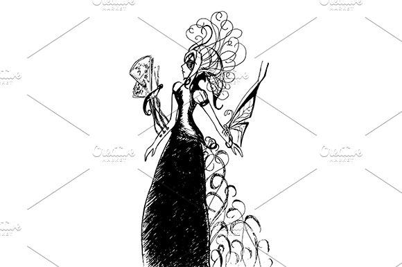 Girl With Butterflies Sketch Vector