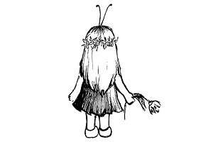 Little girl with flower sketch art