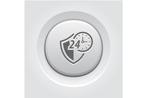 Protected 24-hour Icon. Flat Design.