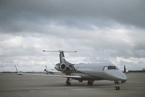 Airport. Aircraft awaiting takeoff