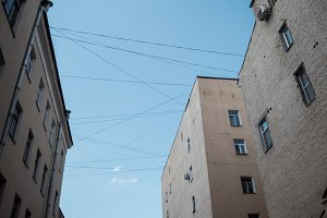 St Petersburg courtyards. Bottom-up view