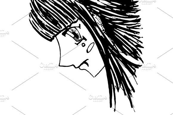 Anime Manga Girl Sketch Art Vector