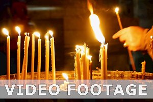 Burning candles in Holy Sepulcher Church