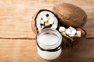 Ripe coconut close up