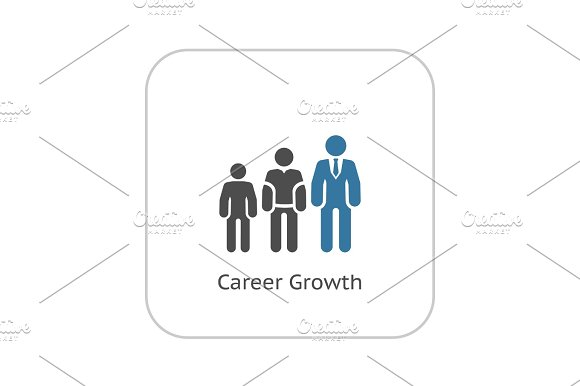 Career Growth Icon Flat Design