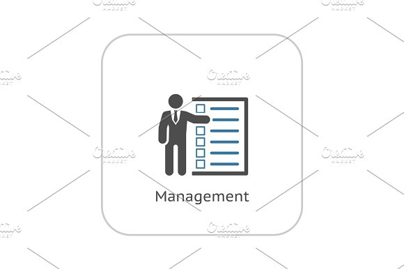 Management Icon Flat Design
