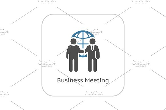 Business Meeting Icon Flat Design