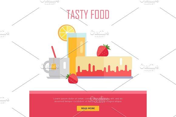 Tasty Food Concept Web Banner Illustration