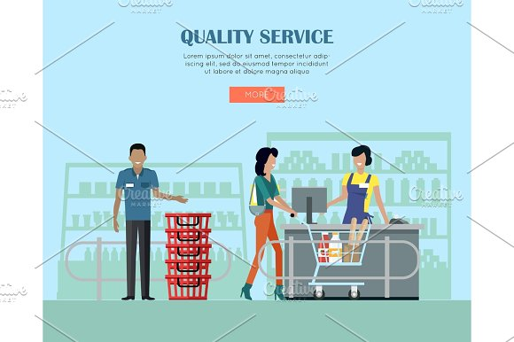 Quality Service In Supermarket Concept Banner