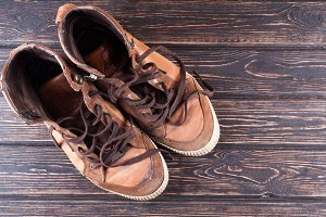 Old brown sneakers