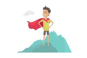 Man in Hero Cape on Mountain Peak Illustration.