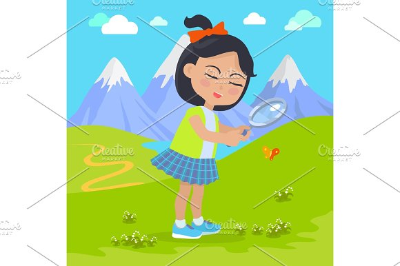 Girl Holds Magnifying Glass In Hands At Mountains