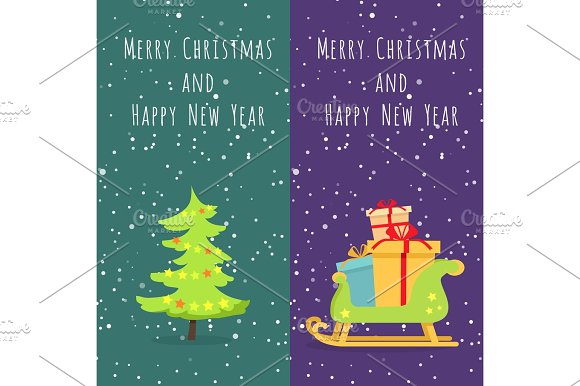 Merry Christmas And Happy New Year Set Of Icons