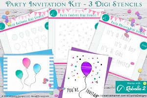 Party Invitation Kit Digi Stencils