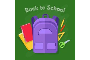 Back to School. Violet Backpack. Office Supplies