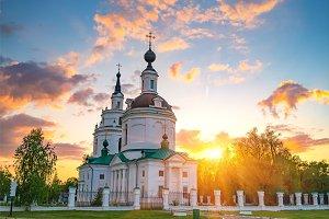 Orthodox church at sunset