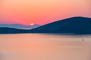 Sunrise over sea in Greece