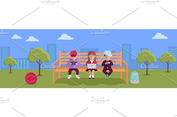 Internet Addiction Concept Vector In Flat Design