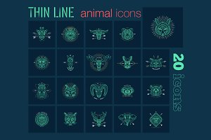 Thin line animal icons