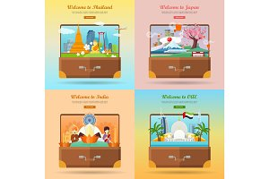 Welcome to Japan, Thailand, India, UAE. Suitcase