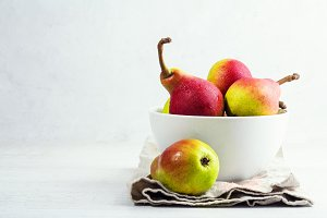 pears in white plate