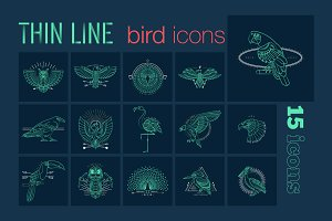 Thin line bird icons