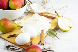 ingredients for baking pear cake