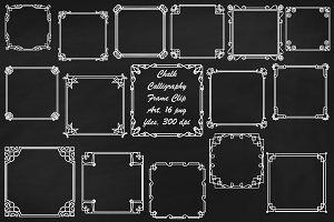 Chalk Art Deco/Nouveau Frame ClipArt