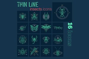 Thin line insects icons
