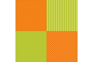 Set of four popular primitive retro patterns in autumn colors