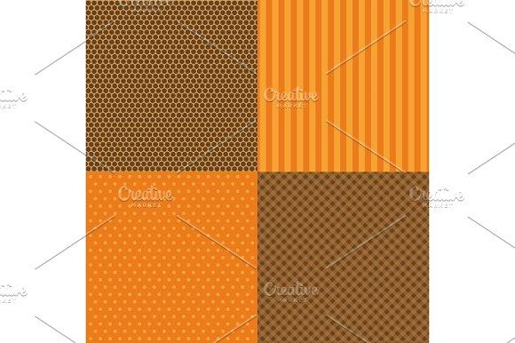 Set Of Four Popular Primitive Retro Patterns In Autumn Colors