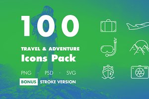 100 Travel & Adventure Icons Pack