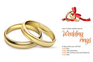 Wedding Rings Realistic Set