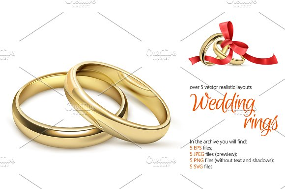 Wedding Rings Realistic Set