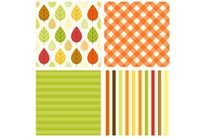 Set of four primitive retro seamless patterns with leaves and rain drops, gingham and striped