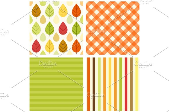 Set Of Four Primitive Retro Seamless Patterns With Leaves And Rain Drops Gingham And Striped