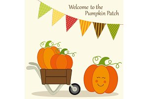 Cute Pumpkin Patch card with bright bunting flags in traditional autumn colors and different pumpkins in wheelbarrow