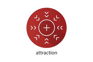 Attraction symbol flat linear long shadow icon