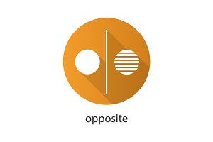 Opposite symbol flat design long shadow glyph icon