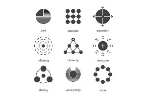 Abstract symbols glyph icons set