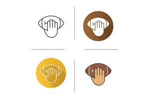 Hand throwing american football ball icon