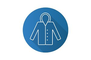 Raincoat flat linear long shadow icon