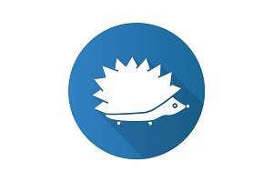 Hedgehog flat design long shadow glyph icon