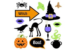 Cute set of Halloween witch photo booth props - Grab a prop and strike a pose