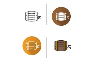 Alcohol wooden barrel icon