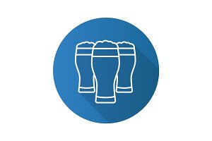 Beer glasses flat linear long shadow icon