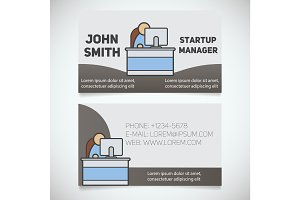 Business card print template with office manager logo