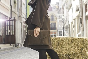 Girl in brown wool jacket